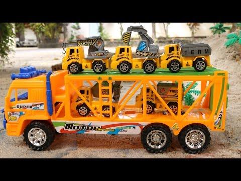 รีวิวของรถของเล่น ภารกิจกู้ภัยดินถล่มรถก่อสร้าง รถโม่ปูน รถดั้ม รถแม็คโคร รถบรรทุก รถขยะ รถเครน