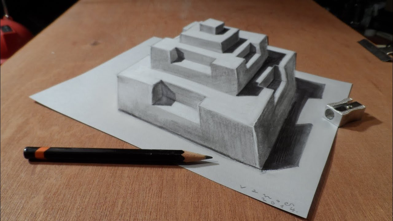 Drawing 3d Pyramid Artistic Graphic Youtube