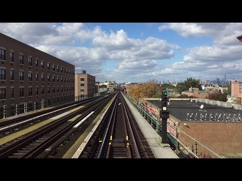 NYC Subway HD 60fps: Manhattan Bound R32 3377 J Express Train Railfan Window Full Line (10/24/16)