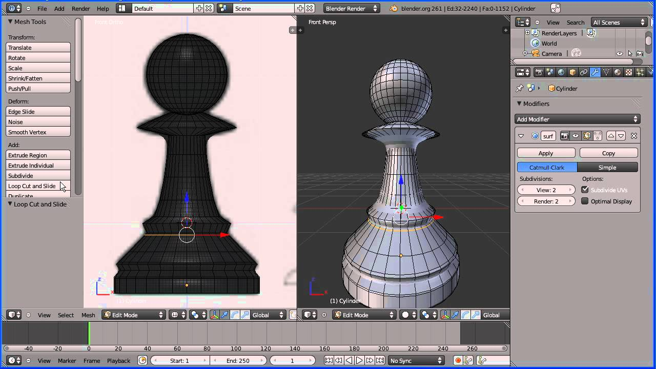 Blender 2 6 Character Modeling Tutorial : Blender modelling tutorial making a pawn chess piece