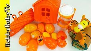 Disney Treasure Surprise Eggs! Learn Color Orange Lesson 2 By Hobbybabytv