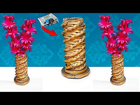 DIY - Flower vase made from Newspaper with paper flower stick | Best out waste Home decor