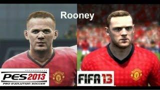 PES 2013 vs FIFA 13 FACE Comparison MANCHESTER UNITED