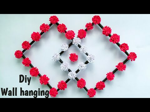 Diy paper flower wall hanging /Simple and beautiful wall hanging/Wall decoration ideas  KovaiCraft 5