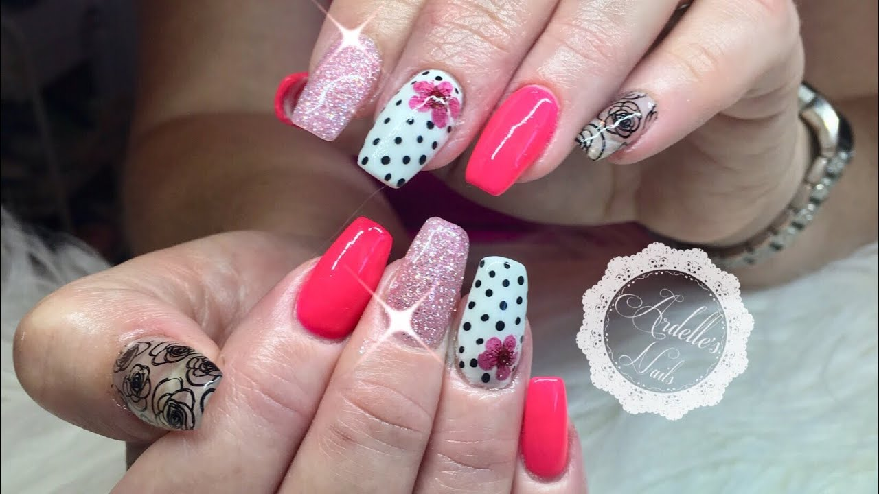 Pink Polkadot Flower Acrylic Nails With Gel Polish Stamping Youtube