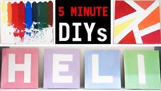 Diy Room Decor! 5 Minute Easy Pinterest & Tumblr Crafts   Canvas Wall Art Ideas   #diywithheli