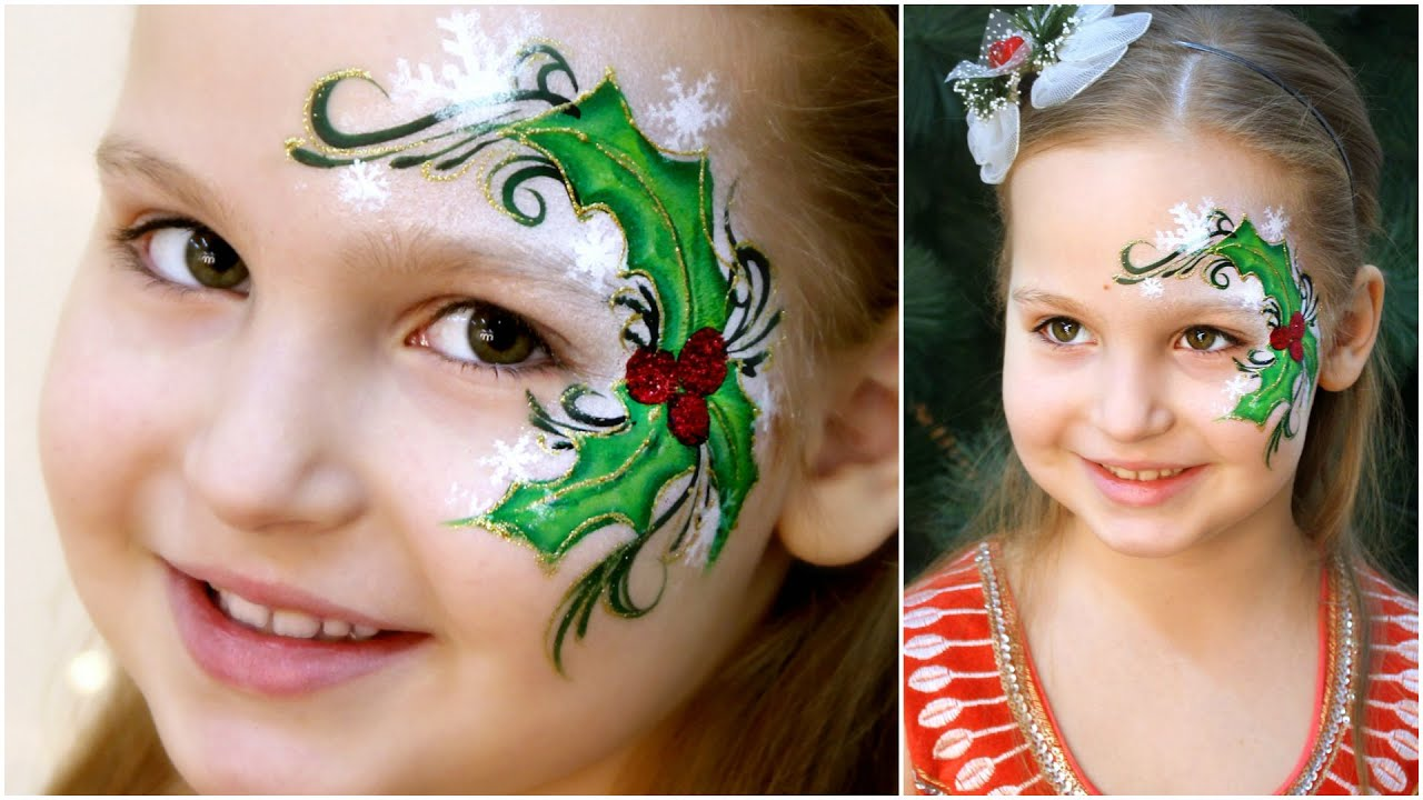 Christmas Face Paint.Holly Christmas Fast Easy Face Painting Tutorial