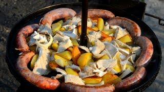 Жареная картошка. Как пожарить картошку.Картошка с грибами и колбасками.