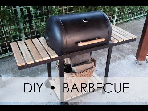 DIY barbecue - homemade grill - old hot water boiler