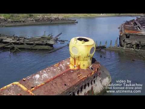 Abandoned Yellow Submarine, Coney ISland NY,  Aerial stock footage 4k