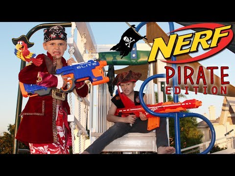 Playground Family Nerf War -  Pirates Attack the Fort!