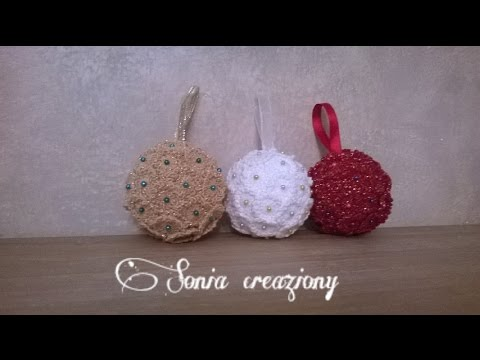 Decorazioni Natalizie Palline Polistirolo.Christmas Ball With Crochet Flowers