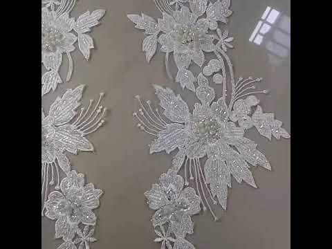 Bordir baju pengantin aplikasi brokat prancis full payet - YouTube 1317585e05