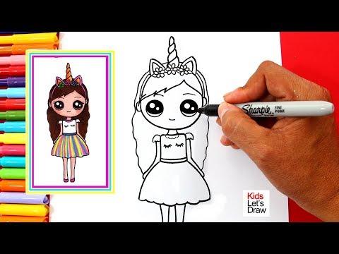 Aprende A Dibujar Una Chica Unicornio Kawaii Vestido De Colores