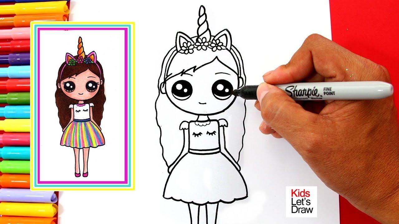 Aprende A Dibujar Una Chica Unicornio Kawaii How To Draw A Cute
