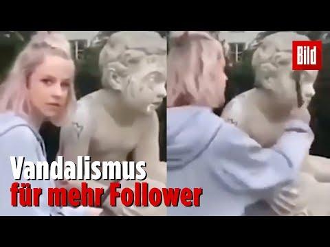 Instagram-Model schlägt Statue die Nase ab