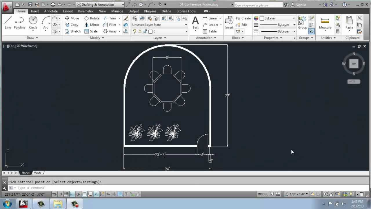AutoCAD D Drafting Basics Part Conference Room - Curved conference table