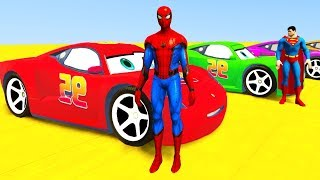 Colors for Children to Learn with McQueen Tow Vehicles 3D Spiderman for Kids & Superhero Cars thumbnail