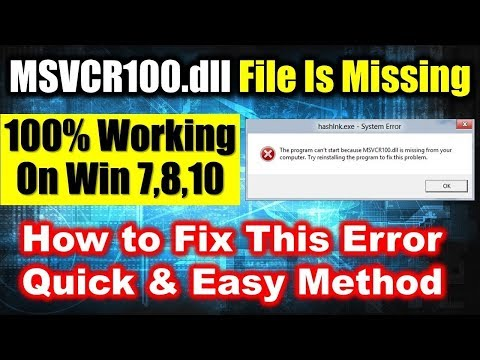 How To Fix Msvcr100.dll Missing Error Windows 10/8.1/7