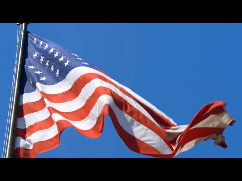 [10 Hours] American Flag in Blue Sky w/ Light Wind - Video & Audio [1080HD] SlowTV