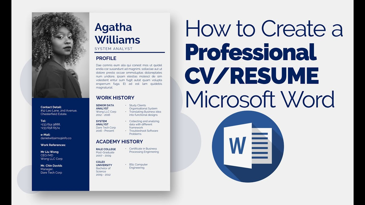 How to Create a Professional CV/RESUME Microsoft Word ...