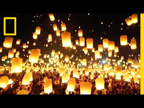 Watch as Lanterns Fill the Sky in Thailand | National Geographic