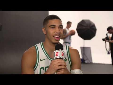 "Jayson Tatum jokingly calls Kyrie Irving his ""little"" big brother | 2017 NBA Media Day | ESPN"