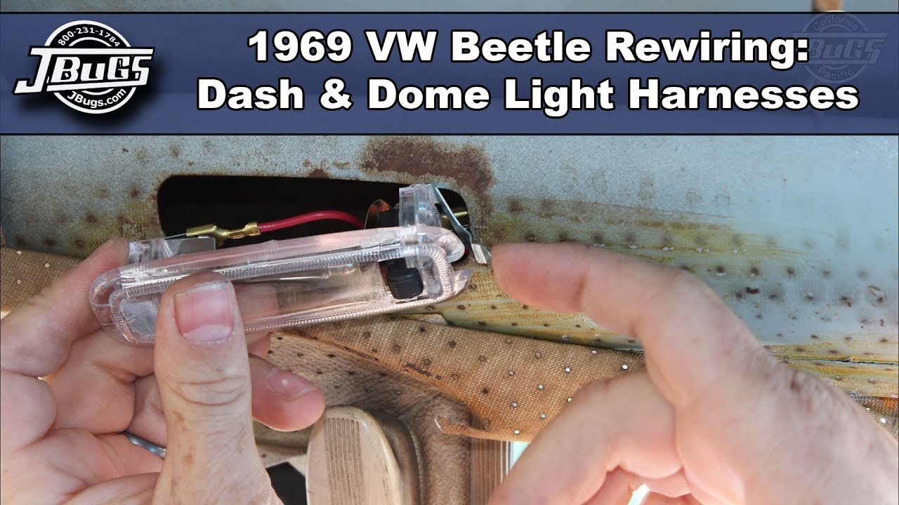 hight resolution of jbugs 1969 vw beetle rewiring dashboard and dome light harnesses
