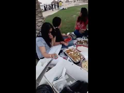 Filipino girls  eat fun at the Sea coast in salmiya kuwait