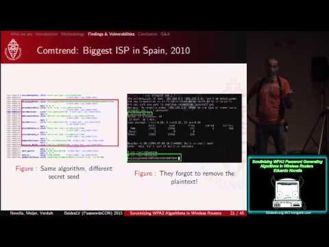 PW06 Scrutinizing WPA2 Password Generating Algorithms in Wireless Routers Eduardo Novella