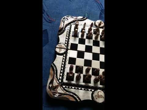 Шахматы-нарды-шашки 3 в 1 резные + резная шкатулка для фигур.