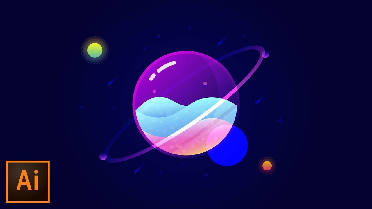 Glass Planet Vector Illustration Adobe Illustrator