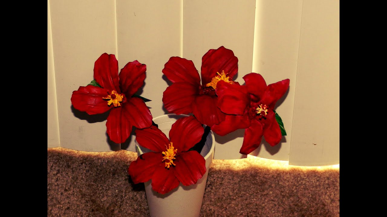 recycled diy  hibiscus flowers made with waste plastic