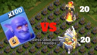 100 Bowler attack against 20 eagle artilary and inferno|coc private server|clash of clans fhx