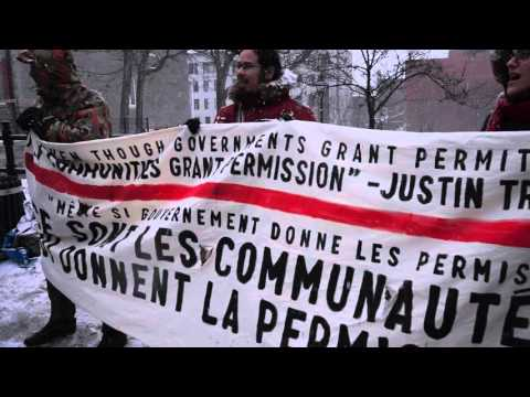 Anti-Pipeline Protest During Justin Trudeau Visit To Montreal City Hall 00051