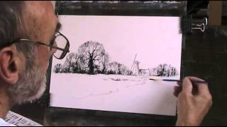 Norfolk Windmill, line drawing  Pt  1