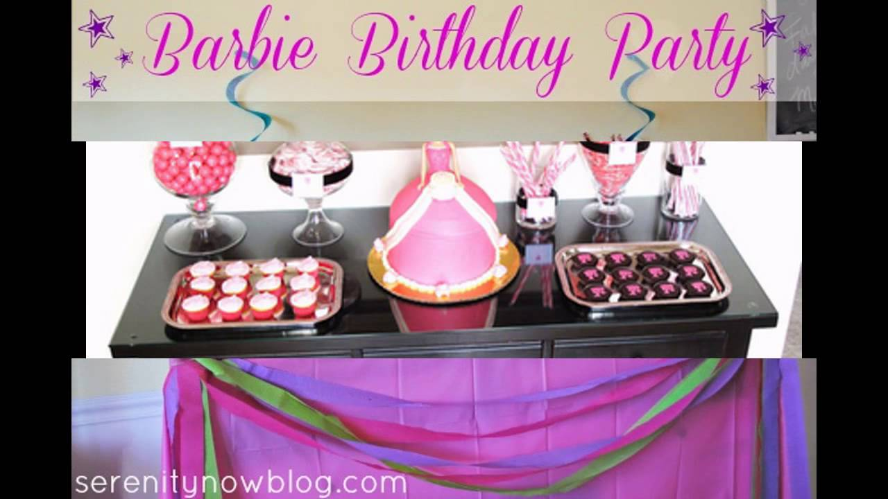 Cute barbie birthday party decorations ideas youtube for R b party decorations