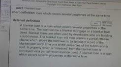 blanket loan CA Real Estate License Exam Top Pass Words VocabUBee.com