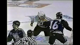 Darcy Tucker vs Darius Kasparaitis & Referee Mick McGeough throws Tucker into the penalty box