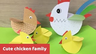 Cute chicken family Easter decoration, easy craft for kids
