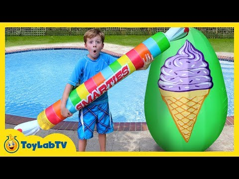 GIANT ICE CREAM SURPRISE EGG! T-Rex Dinosaur, Candy Inflatable Pool Toys, Fun Kids Water Balloon Toy