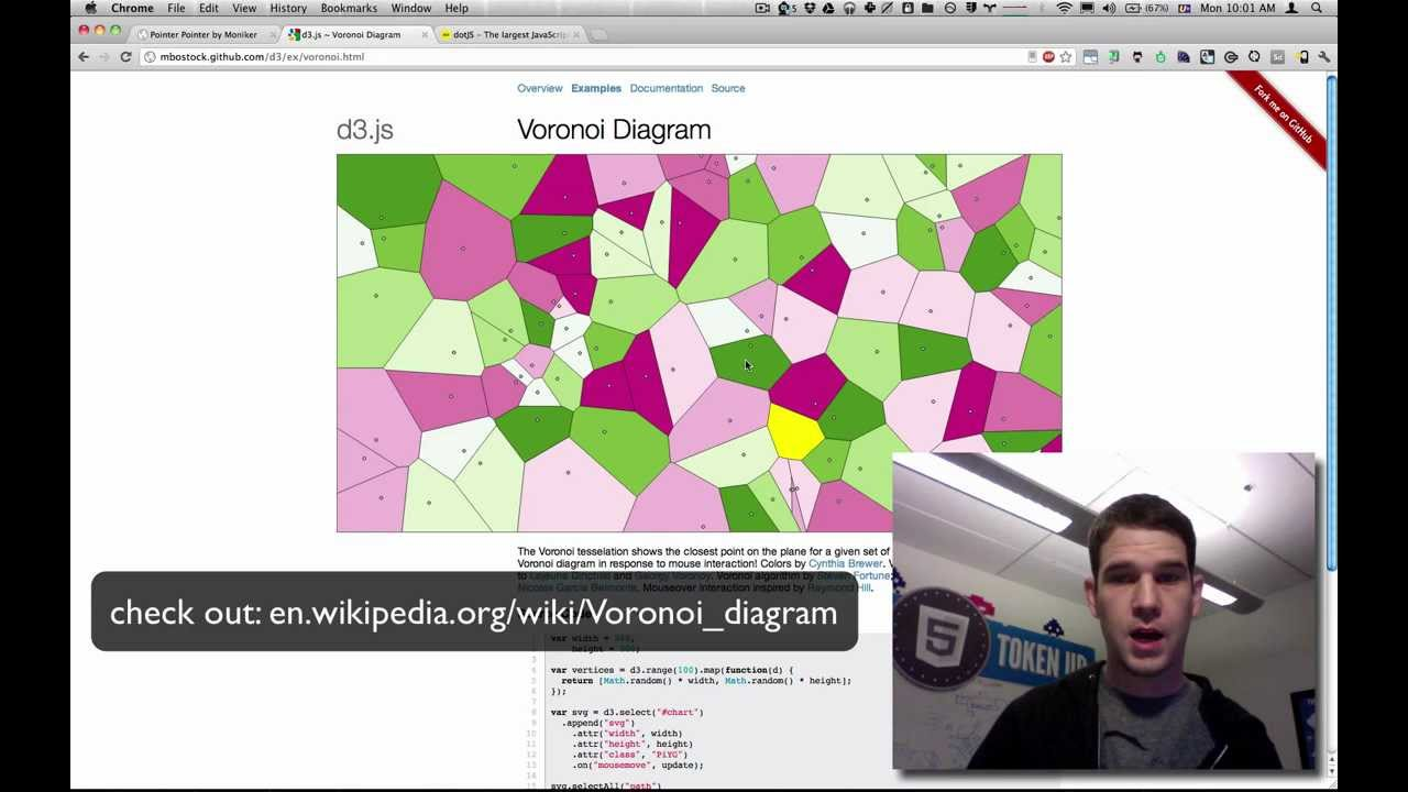 pointerpointer com's use of voronoi, canvas, and javascript