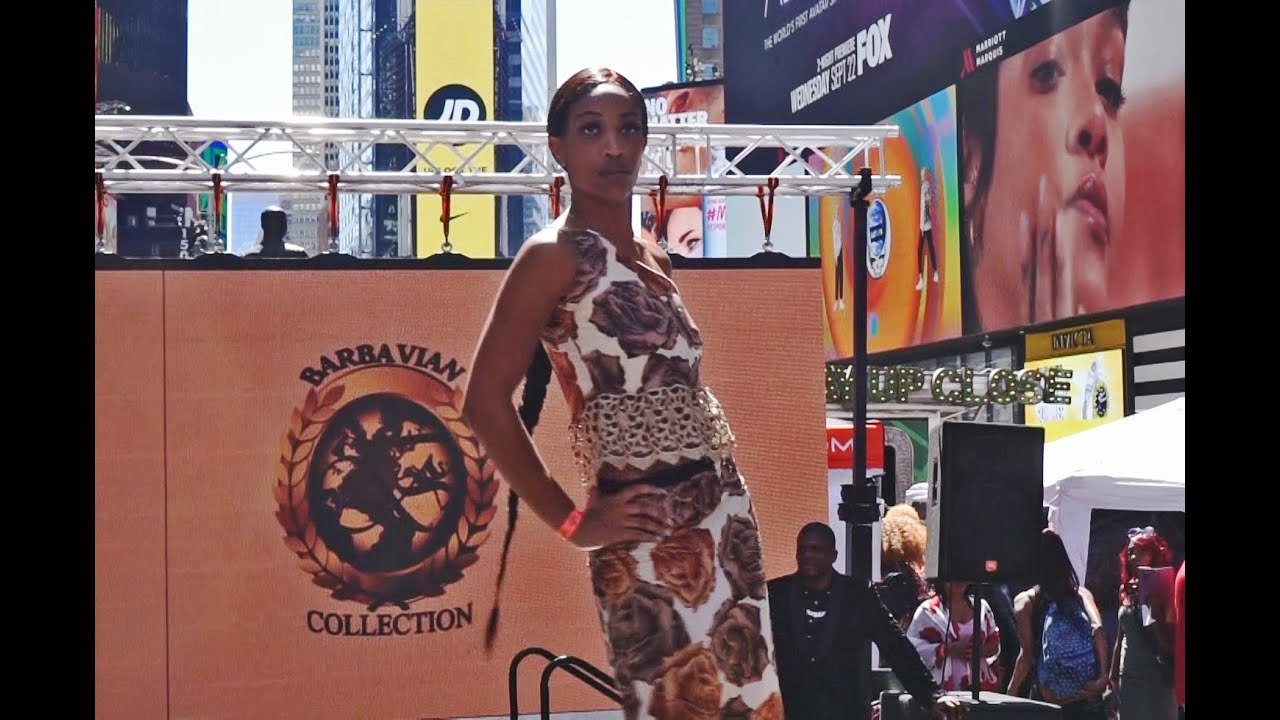 Times Square Fashion Show with the Barbavian Collection