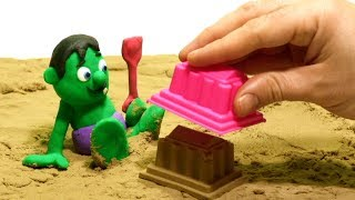 Superhero sand playground - Play Doh Stop motion videos for kids