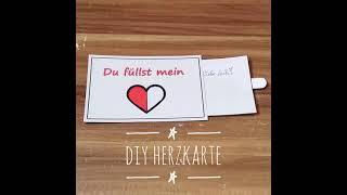 DIY Idee: Herz Karte für Verliebte inkl. Vorlage als Geschenkidee