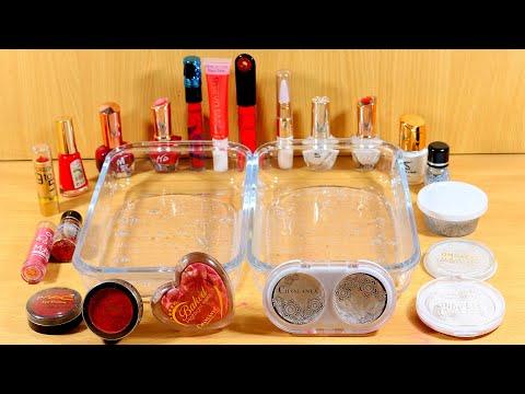 Strawberry vs Milk | Mixing Makeup Eyeshadow Into Clear Slime - Satisfying Slime Video