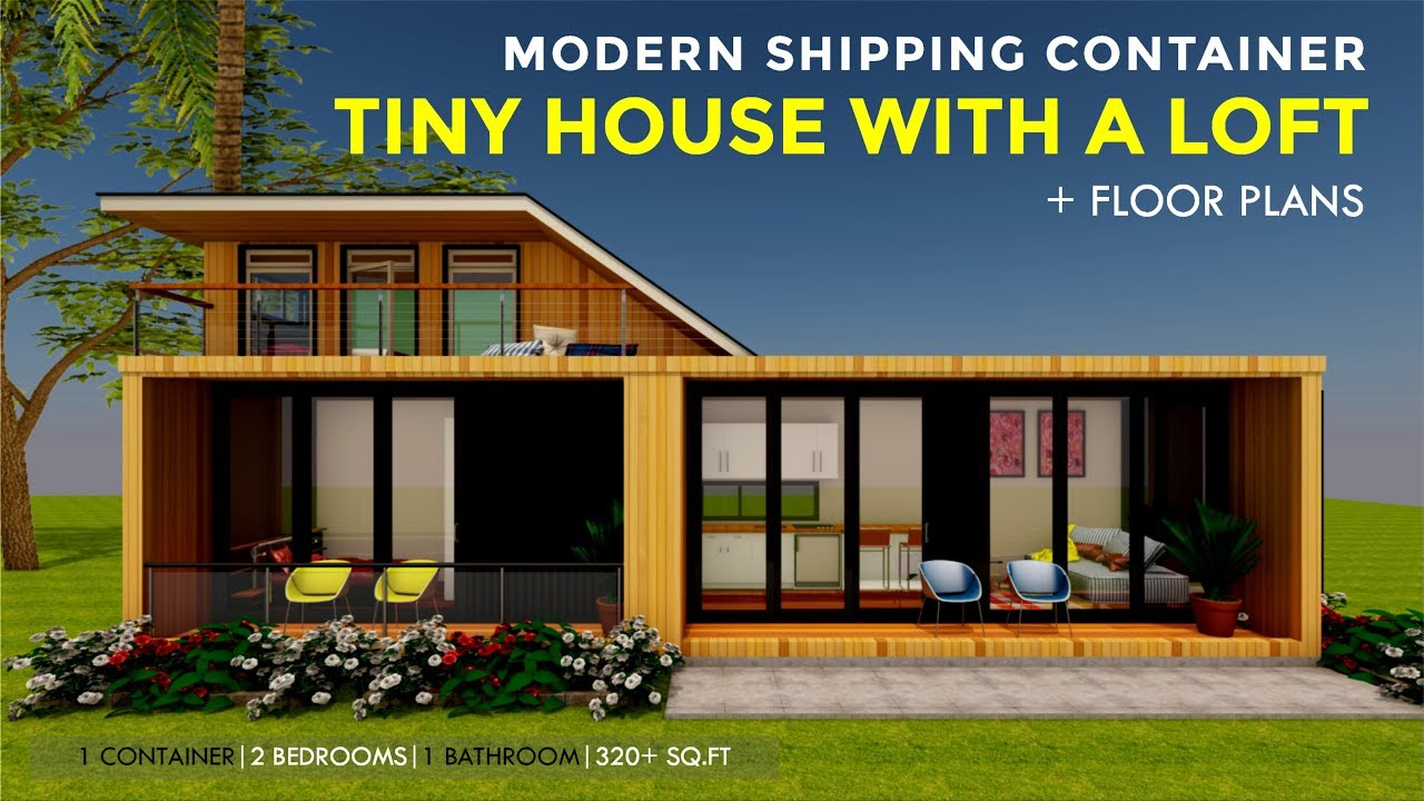modern shipping container tiny house design with a loft floor plans 2018 modloft 320 youtube. Black Bedroom Furniture Sets. Home Design Ideas