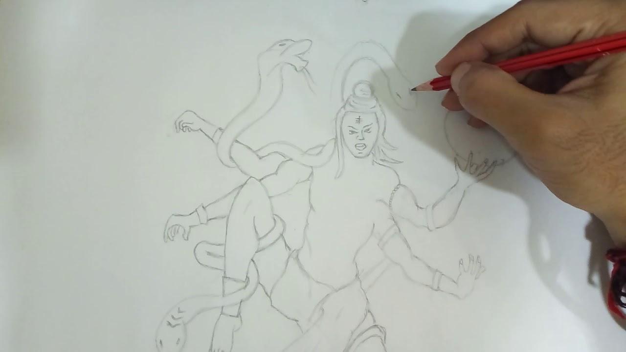 Angry lord shiva sketch by nilesh tambade