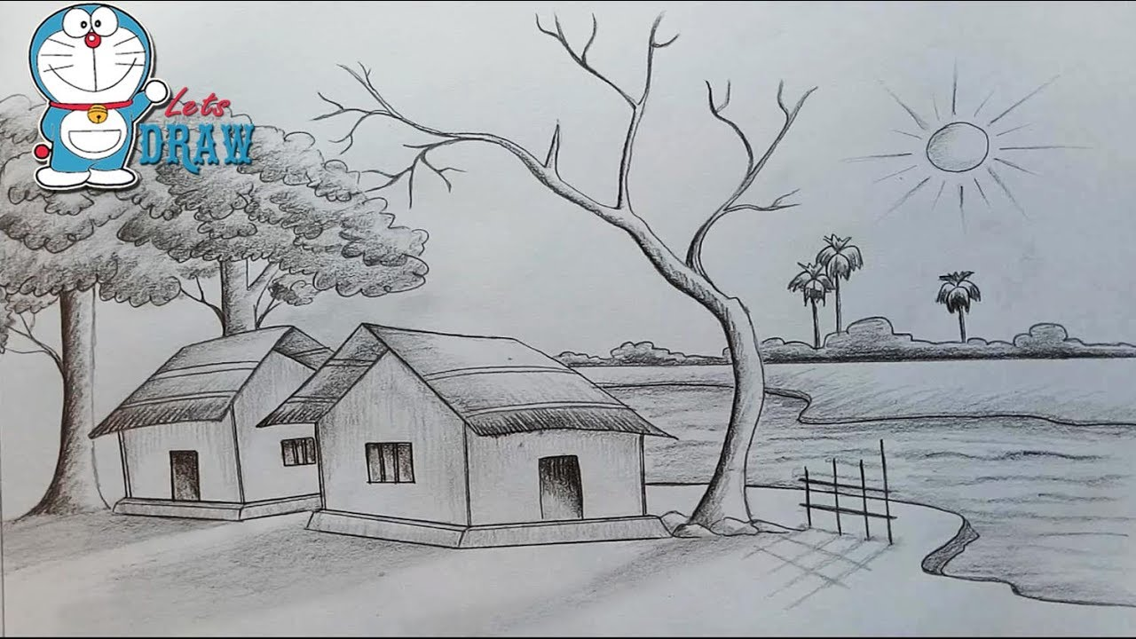 medium resolution of how to draw scenery of light and shadow by pencil sketch