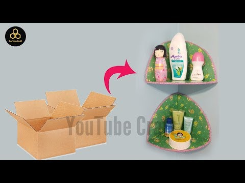 Awesome!! How to make a make - up shelf from used cardboard    D.I.Y Room Decor